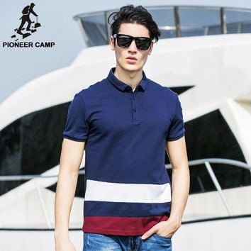 Men 100% Cotton Polo Shirt Contrast Color Patchwork Clothing Striped Polo Home Fitness
