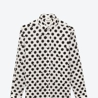 Saint Laurent Signature Dylan Collar Shirt In White And Black Polka Dot Cotton Voile | ysl.com