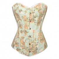 A3503 - Light Blue Denim Corset with Orange and Green Floral Design