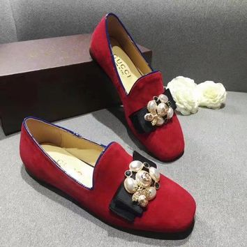 Red GUCCI Women Trending Fashion pearls Bow Casual Shoes Flat Sandal Slipper Heels