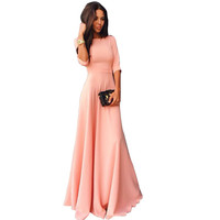 Autumn Dress Women Party Robe Half Sleeve Solid Color Empire Waist Elegant Dress Pleated Mermaid Evening Club Bodycon Maxi Dress