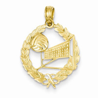 14k Gold Volleyball Story in Leaf Circle Pendant