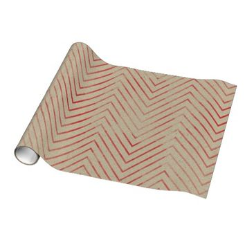 NATURAL RED CHEVRON CHRISTMAS WRAPPING PAPER
