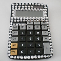 BLACK & BLING CALCULATOR - Sparkling Desktop Calculator w/ Clear Rhinestones
