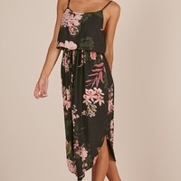 Lunch Time dress in black floral Produced By SHOWPO