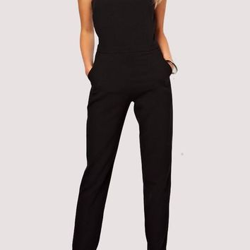 Black Pockets Buttons One Piece Round Neck Going out Long Jumpsuit