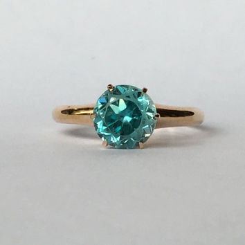 Vintage Swiss Blue Topaz Ring in 10k Rose Gold Setting. Unique Engagement Ring. Estate Jewelry. November Birthstone. 4th Anniversary Stone.