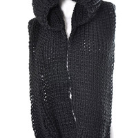 Going That Extra Mile Hooded Infinity Scarf: Black