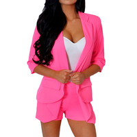 Rose 3/4 Sleeve Open Front  Notched Blazer And Elastic Waist Shorts