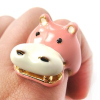 Hippopotamus Hippo Shaped Enamel Animal Ring in US Size 6 and 7 | Limited Edition