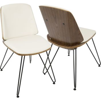 Avery Mid-Century Modern Accent/Dining Chairs, Walnut & Cream (Set of 2)