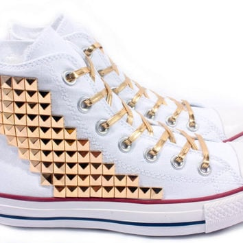 Studded Converse Gold Pyramid studs with converse White high top d15a0aaca