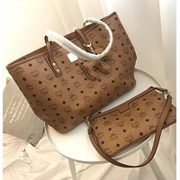 MCM Popular Women Handbag Tote Shoulder Bag Purse Wallet Set Two-Piece Brown I-WXZ2H