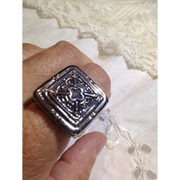 Vintage 1980's Gothic Silver Stainless Steel Cross Men's Ring