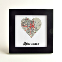 Milwaukee Map Art / Milwaukee Map Heart / Gifts under 30 / Hostess Gifts / Coworker Gift / Christmas Gifts for Grandparents  / Boss Gift