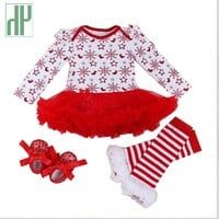 Christmas infant 4pcs sets baby girl clothes Dress lace romper 2017 New Autumn winter rompers Newborn baby clothes costume