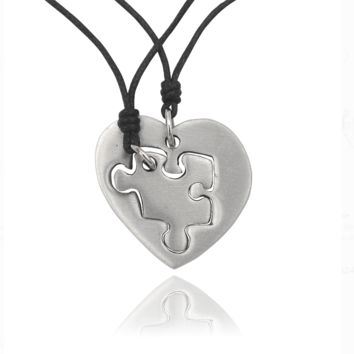 Bestfiend Puzzle Heart Silver Pewter Charm Necklace Pendant Jewelry With Cotton Cord