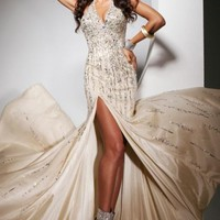 Beaded Open Back Gown by Tony Bowls Evenings