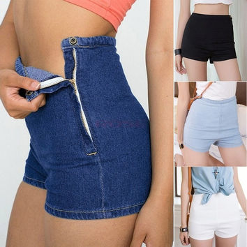 New women shorts Summer Women Slim High Waist Denim Jeans Shorts Hot Pants Tight A Side Button Pants SV004558 [8824275079]