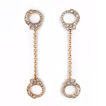 Dangling Rhinestone Handcuff Earrings