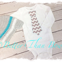 Baby Boys First Birthday Outfit, Chevron Birthday, Aqua and Gray Knitted Beanie, Boys Birthday Outfit, CAKE SMASH OUTFIT, Grey Chevron Tie