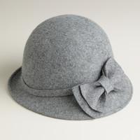 Gray Wool Cloche Hat with Bow - World Market