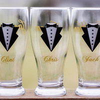 Pilsner beer glasses for Groom, Groomsmen, Best Man, Father of the Bride,Father of the Groom, Gold, Dark Grey, Ice Blue. Priced individually