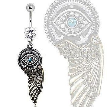Gemmed Steampunk All Seeing Eye Navel Ring w/ Mechanical Wing Dangle Belly Ring