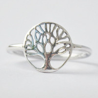 Tree of Life Ring , Yggdrasil , 925 sterling silver ring
