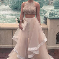 Two Piece Ruffles Tulle Prom Dresses