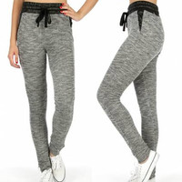 Faux Leather Trim Marled Jogger Pants in S-XL in 4 Colors