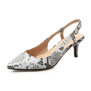 Women's Low Thin Heel Pointed Toe Slingback Shoes