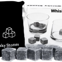 Whisky Stones Set of 9 Rounded Soapstone and Bag - These Smooth Square Rocks are Used to Replace Ice Cubes in Glasses - Chill Drinks Beverages Spirits Scotch - Includes Carrying Pouch - Great Gift for Man or Woman - Last Forever:Amazon:Kitchen & Dining