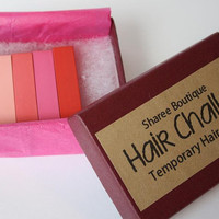 Warm Colored Hair Chalks - 4 Pack - Temporary Color Pastels, Shades of Red & Pink
