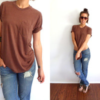 Super Thin 50/50 Chocolate Brown Front Pocket T-Shirt Slouchy Boyfriend Soft Comfy Tee