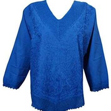 Mogul Interior Womens Peasant Blouse Vintage Lace Work Embroidered Whimsy Effortless Bohemian Cotton Top