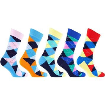 Men's 5-Pair Funky Argyle Socks