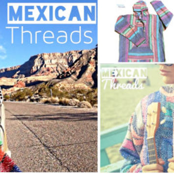Mexican Threads Baja Drug Rug Hoodie Pullover Sweatshirt | Baja Jacket Poncho Rainbow Colorful | Boho Gypsy