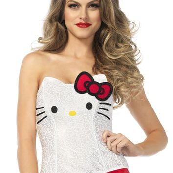 Leg Avenue Female Hello Kitty Sequin Bustier With Bow Accent Costume HK86673