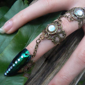 armor ring triple chained jewel beetle ring nail ring claw ring nail tip ring knuckle ring vampire goth victorian goddess pagan boho gypsy
