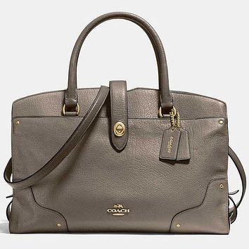 COACH Fashion Women Men Shopping Leather Tote Handbag Shoulder Bag Office Package Grey I