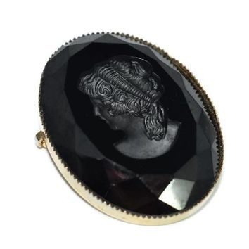 Black Glass Victorian Lady Cameo Intaglio Vintage Victorian Style 1.5 inch