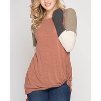 long color blocked sleeve top with front twist - cinnamon