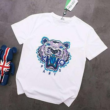 KENZO Summer Trending  Women Men Stylish Tiger Head Embroidery Round Collar T-Shirt Top White