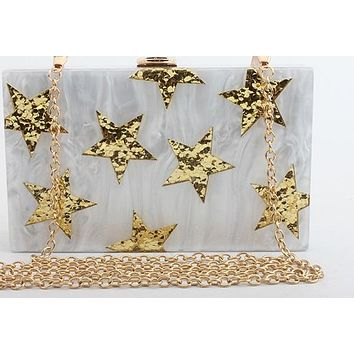 Gold Multi-Star Acrylic Box Clutch