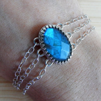 Luminous Blue Flash Labradorite and Sterling Silver Three-Strand Cuff Bracelet, Designer Artisan Jewelry Ready to Ship Unique Gift for Her