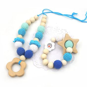 Gift Set For Baby & New Mom, Crochet Nursing Necklace With Flower  Baby Teething Toy Wooden Rattle Gift Set For Baby Boy EN58