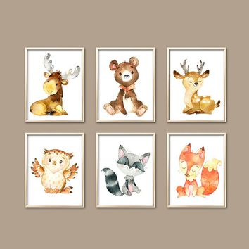Watercolor WOODLAND Wall Art, Wood Forest Animals, Baby Boy Woodland Nursery Decor, Deer Bear Fox Owl, Canvas or Prints, Set of 6 Shower