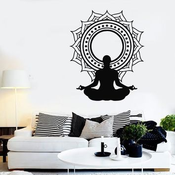 Wall Stickers Vinyl Decal Zen Buddhist Meditation Yoga Mantra Mandala (ig1486)