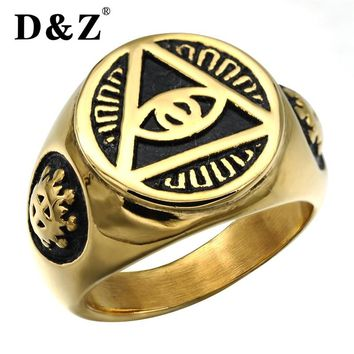 D&Z Trendy Gold Color Illuminati Pyramid Eye Ring 316L Titanium Stainless Steel Freemasonry Masonic Rings For Jewelry